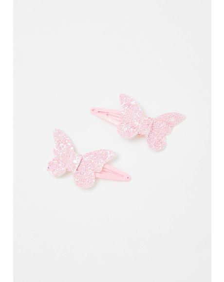 Lil Glitterbug Butterfly Hair Clips