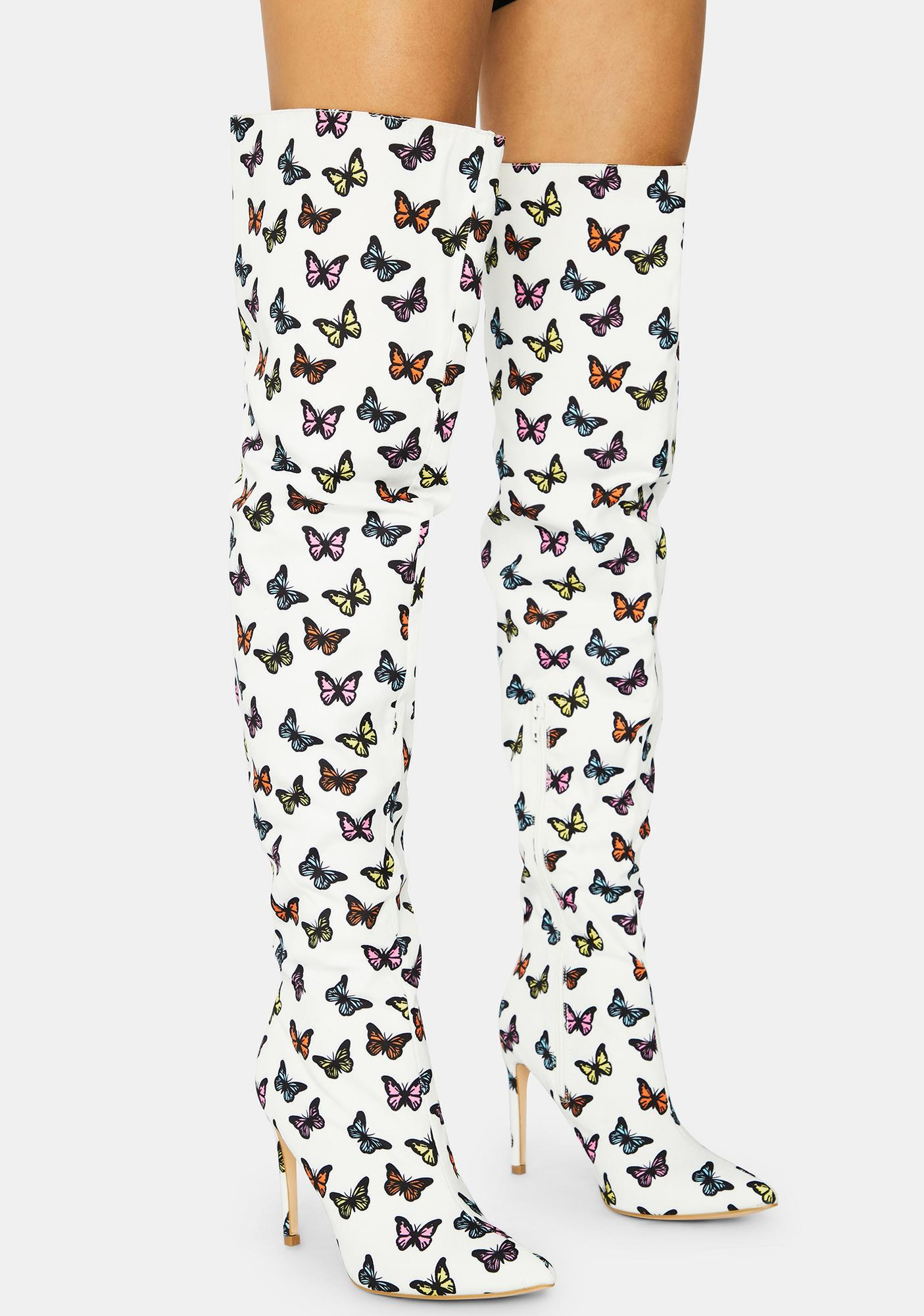 Butterfly Bad Attitude Knee High Boots