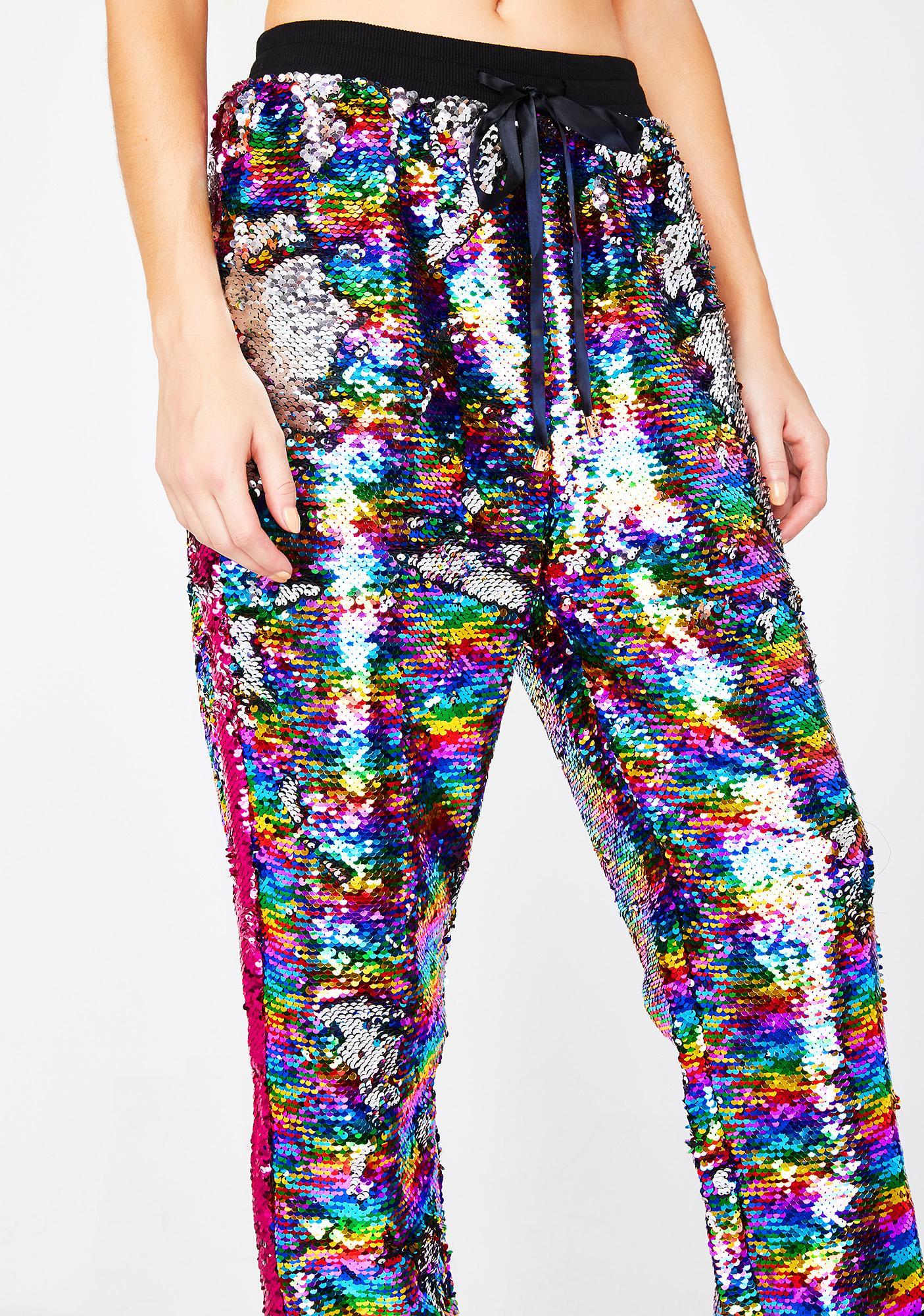 Kuccia Double Rainbow Flip Sequin Joggers