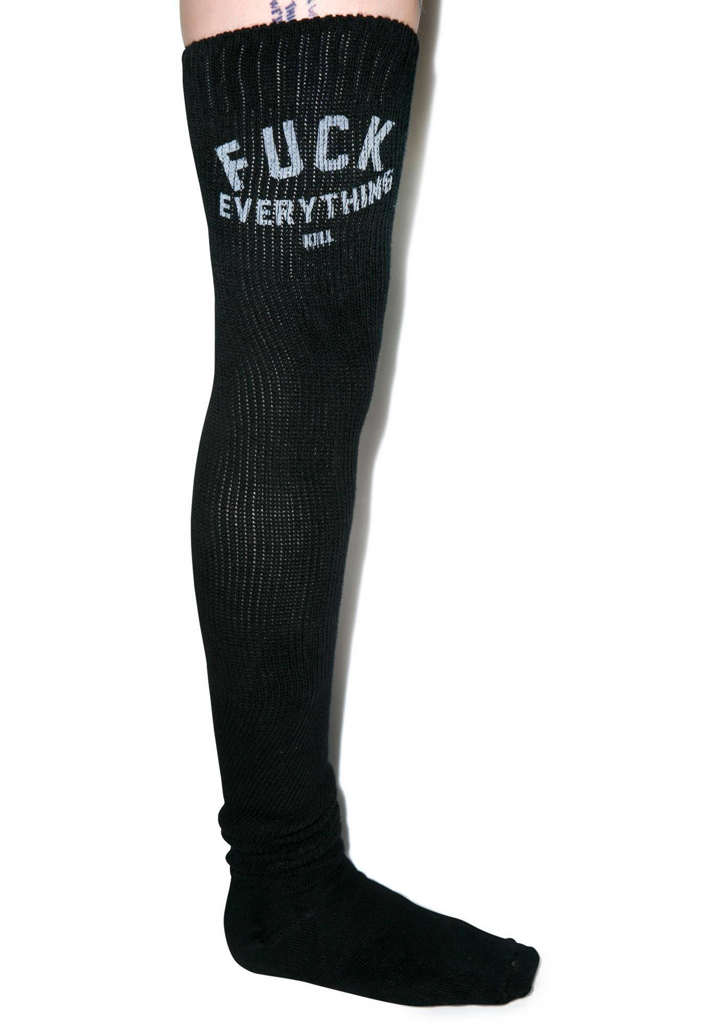 Kill Brand Fuck Everything Thigh High Socks