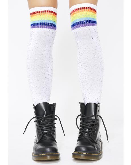 Reigning Rainbow Tube Socks