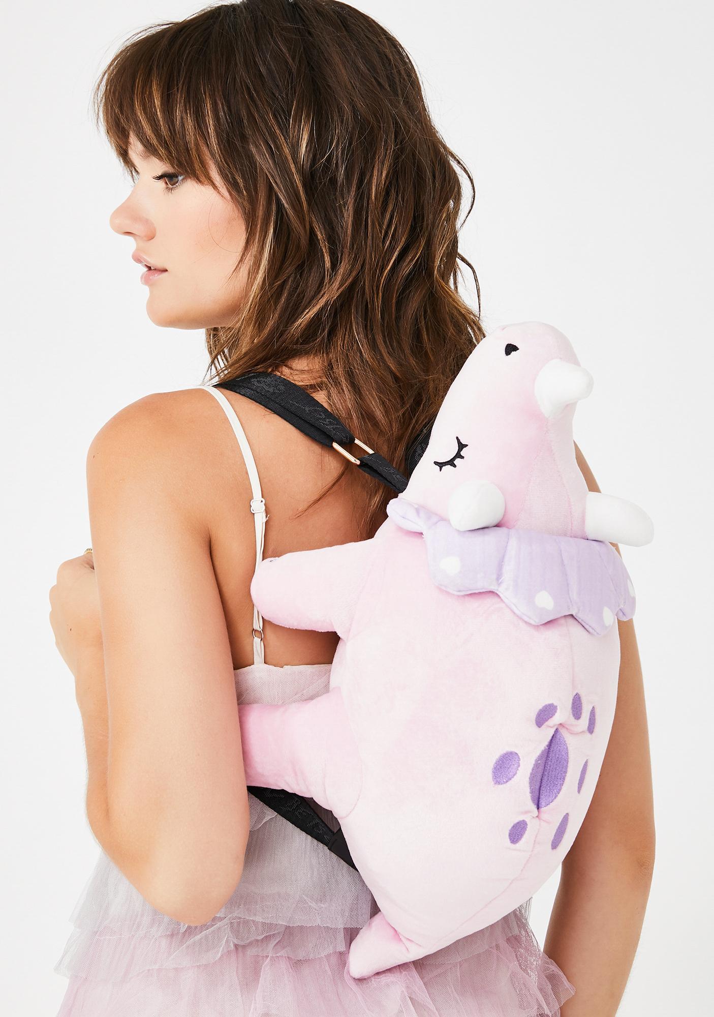 Betsey Johnson Velour Kitsch Dinosaur Backpack