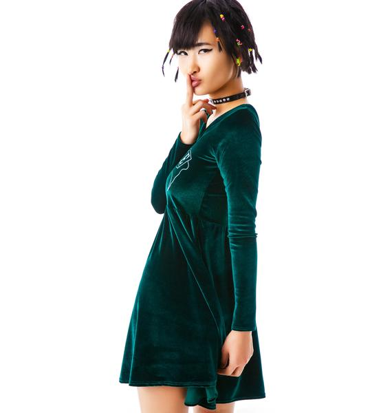 United Couture Unlovable Long Sleeve Velvet Dress