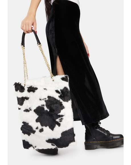 Cow Print Fluffy Bag