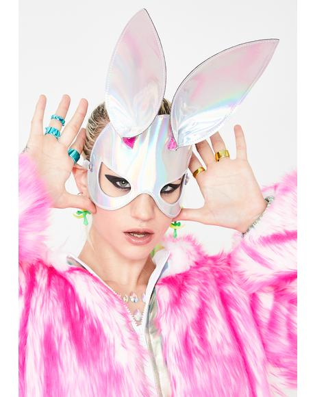 Cyber Bunny Holographic Mask