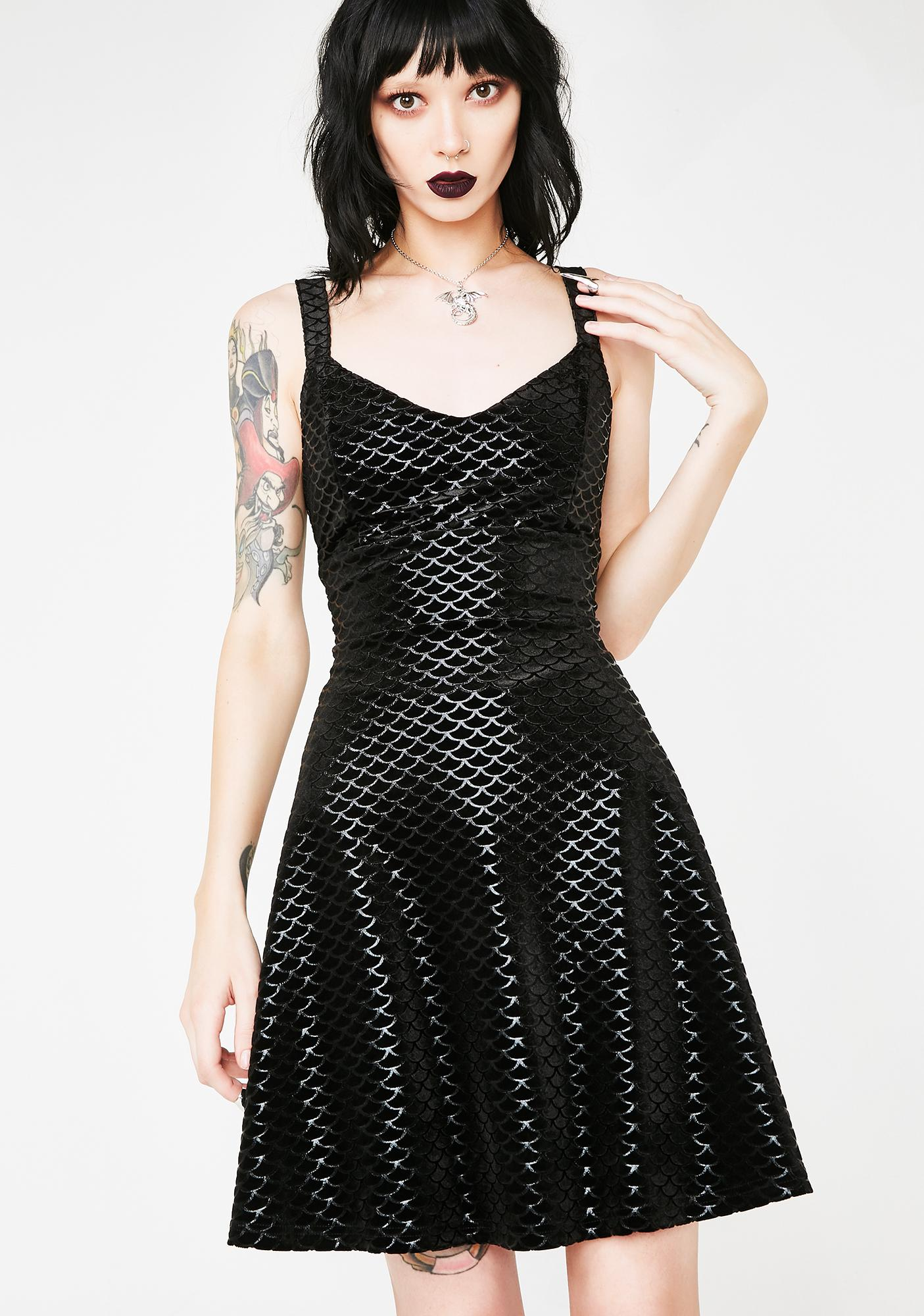 Killstar Black Sea Skater Dress