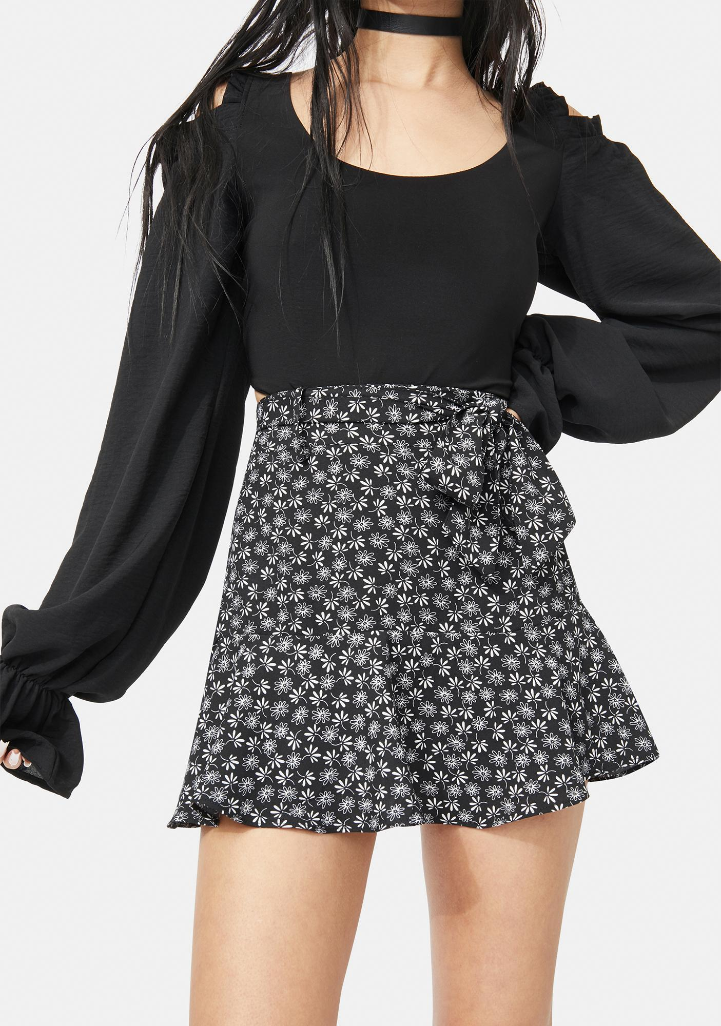 Night Picked Perfection Floral Wrap Mini Skirt