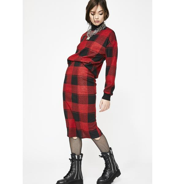 Out My Mind Plaid Skirt
