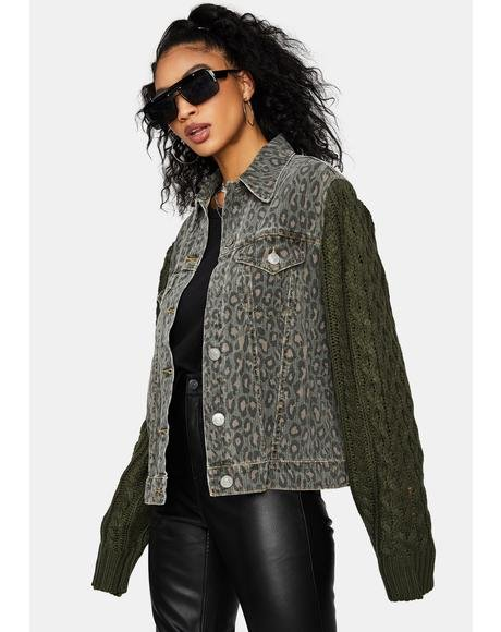 Feelin' Fierce Leopard Print Denim Jacket