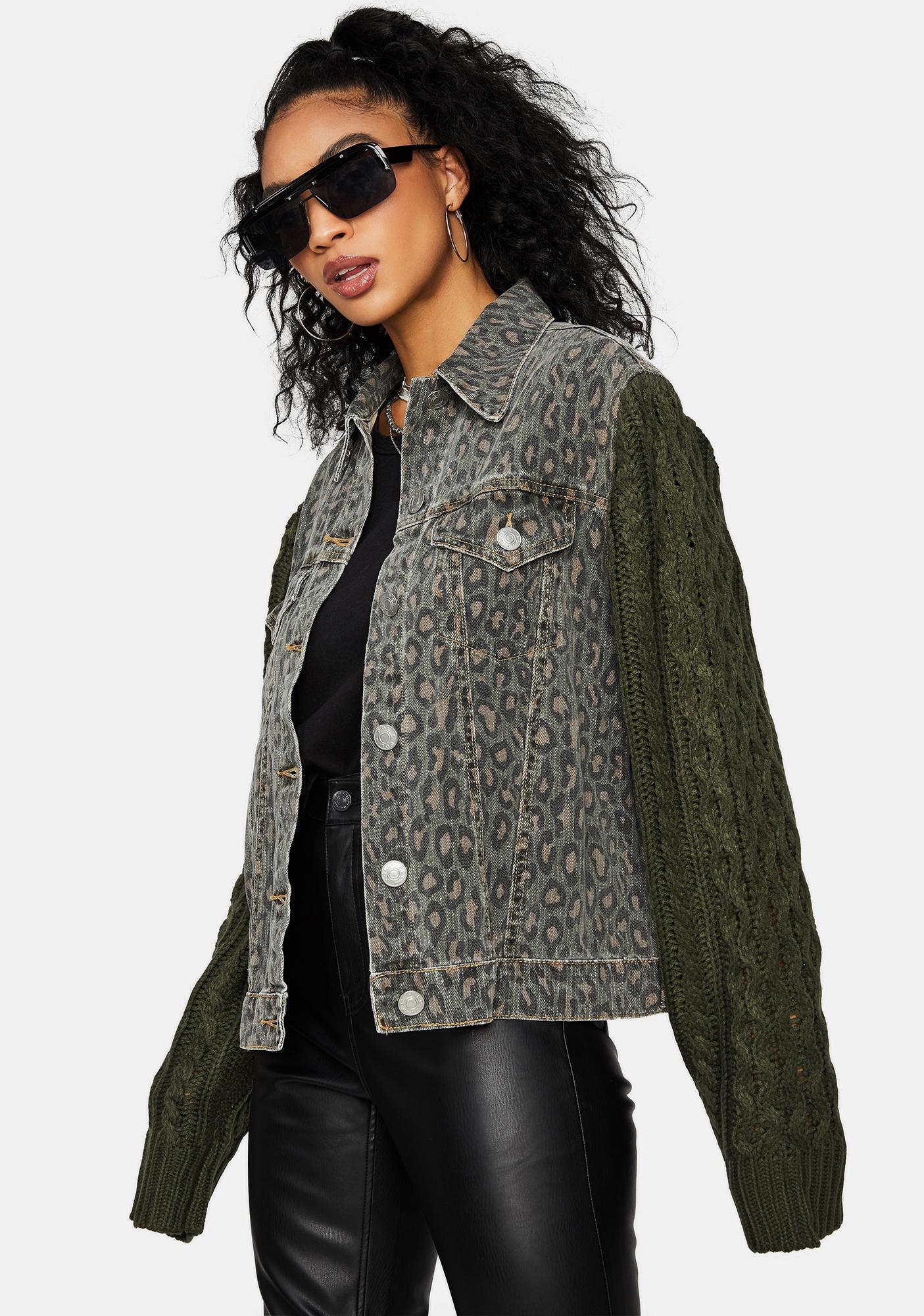 Feelin' Fierce Leopard Print Denim Jacket