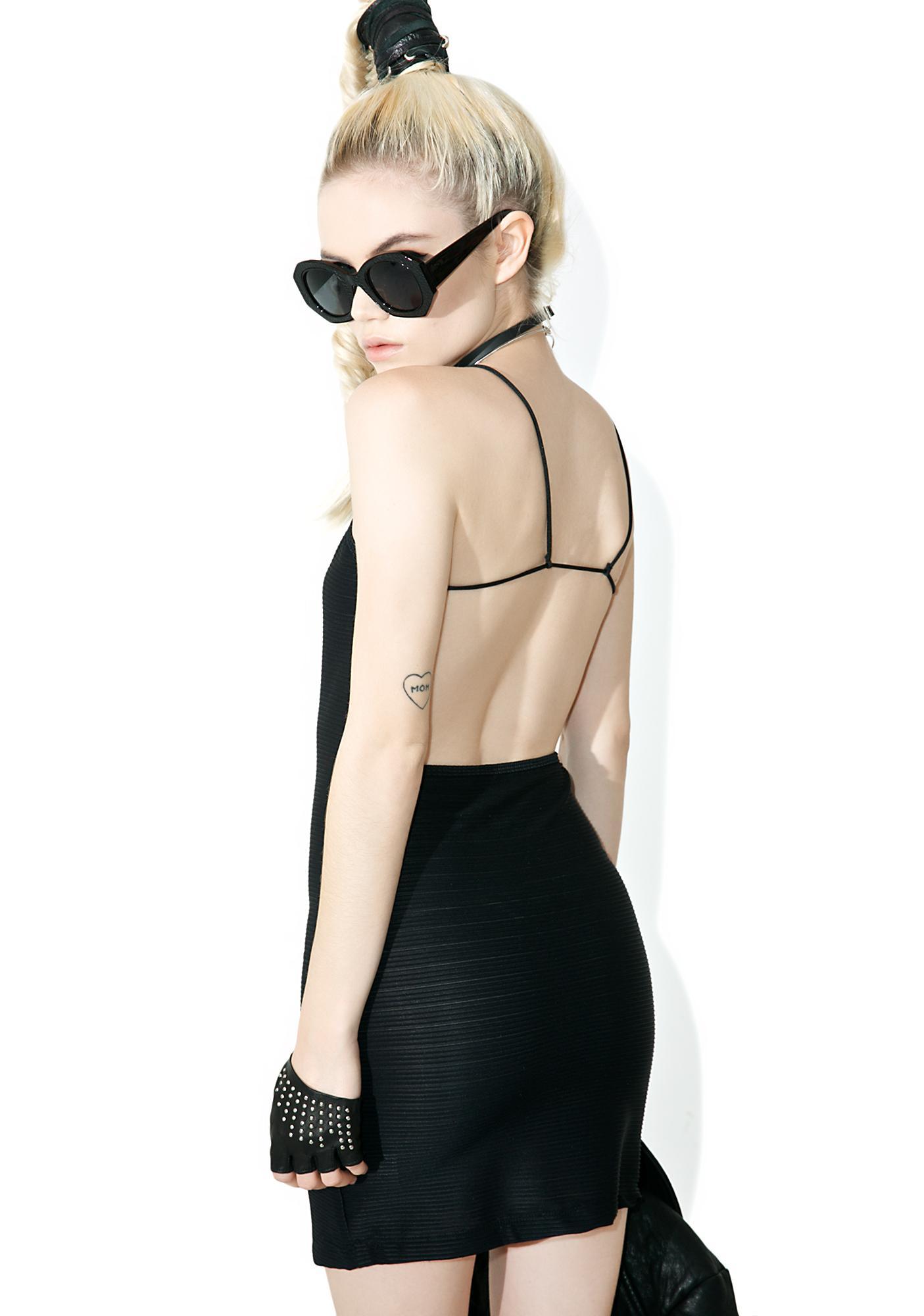 Motel Rib Black Pilcher Dress