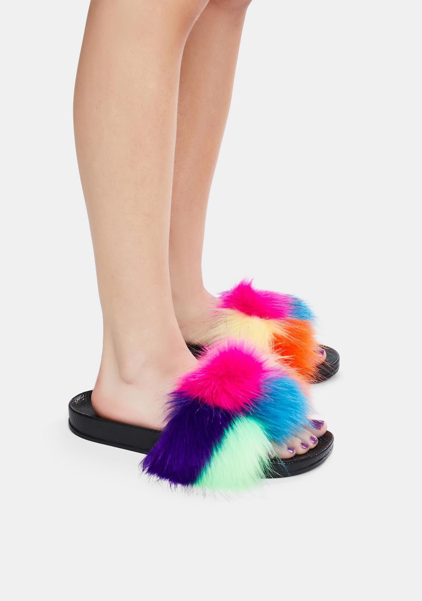 Like A Rainbow Fuzzy Slippers