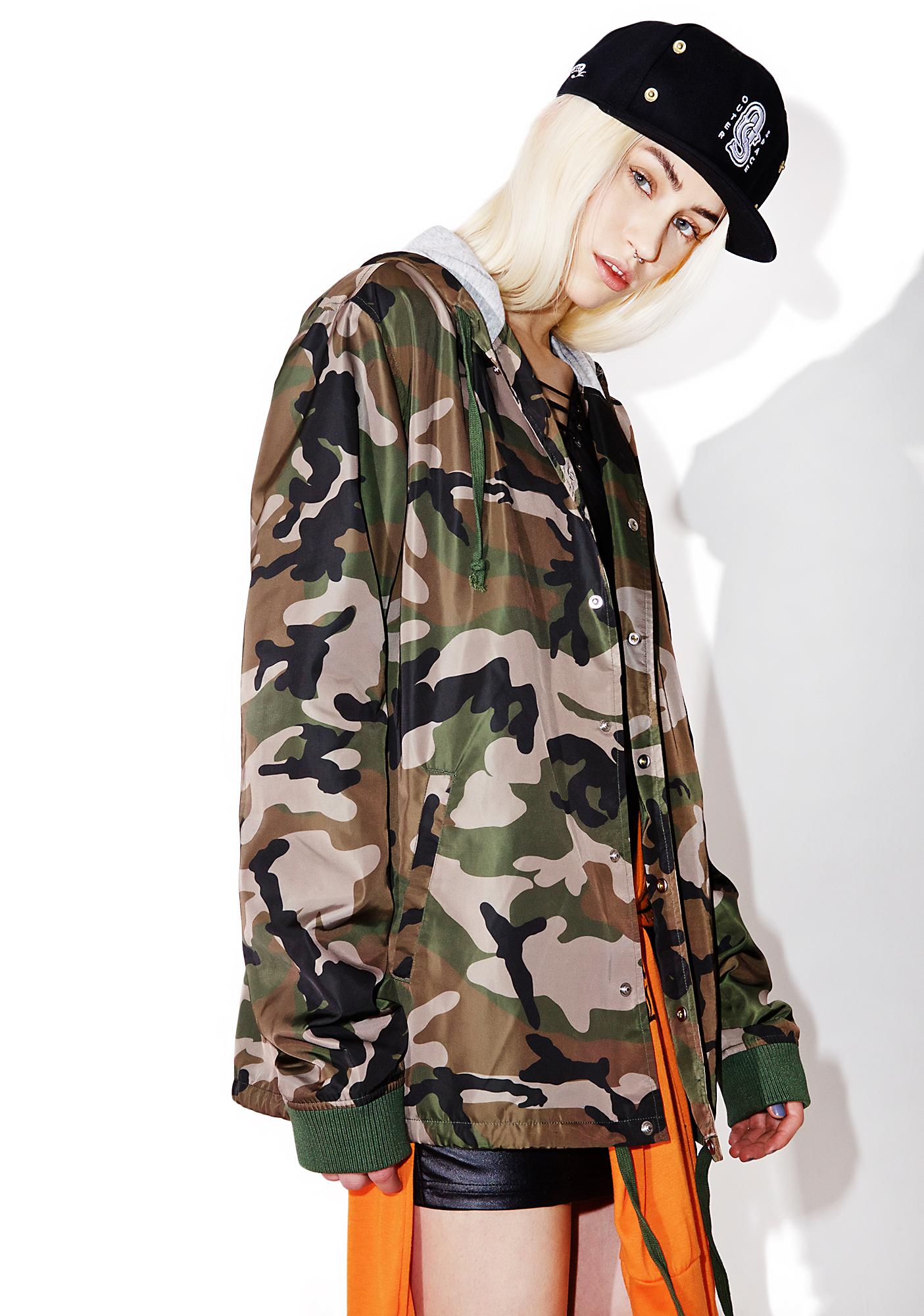 Black Scale Woodland Hooded Coaches Jacket