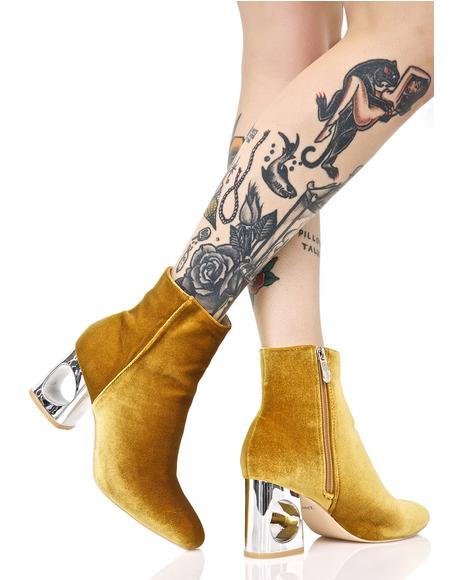 Golden Roulette Cutout Boots