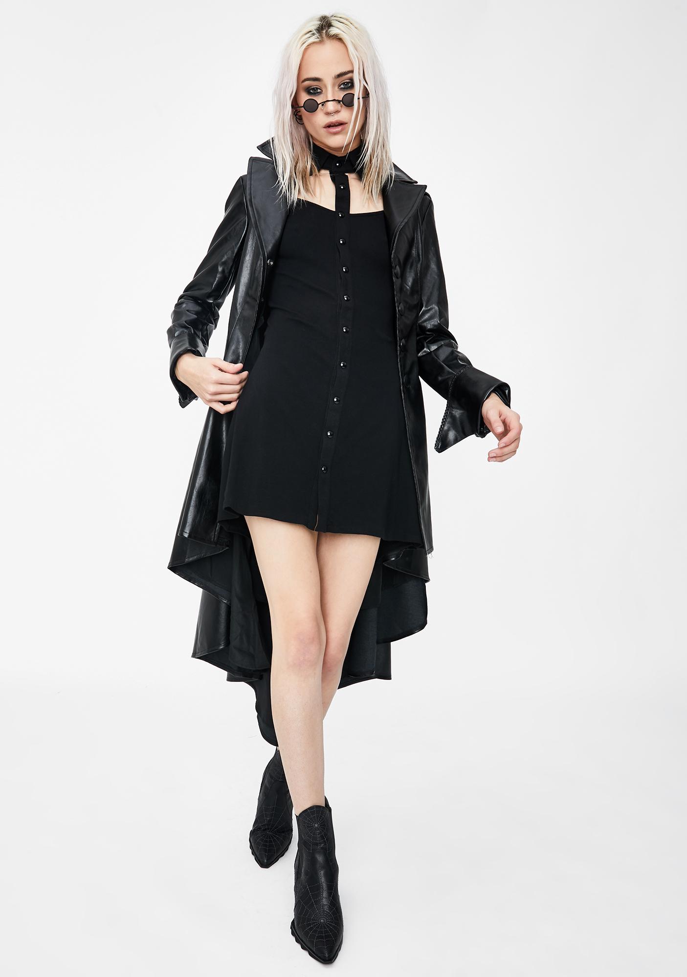 Dark In Love Punk Button Up Cross Back Mini Dress