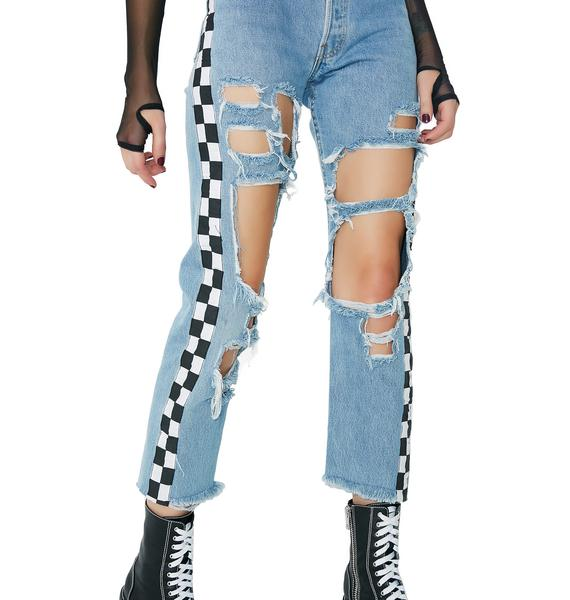 American Vintage Checkered Denim Pants