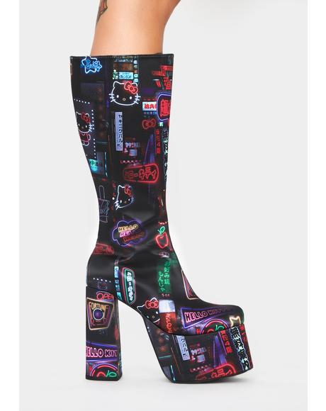Pixel City Platform Boots