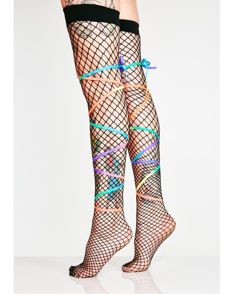 Magic Sass Fishnet Thigh Highs