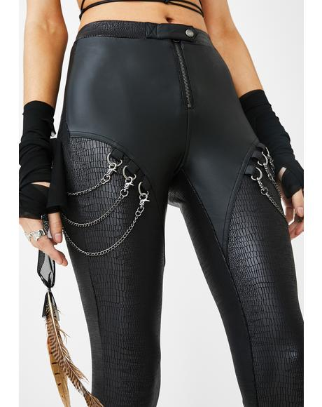 Punk Snakeskin Chain Leggings