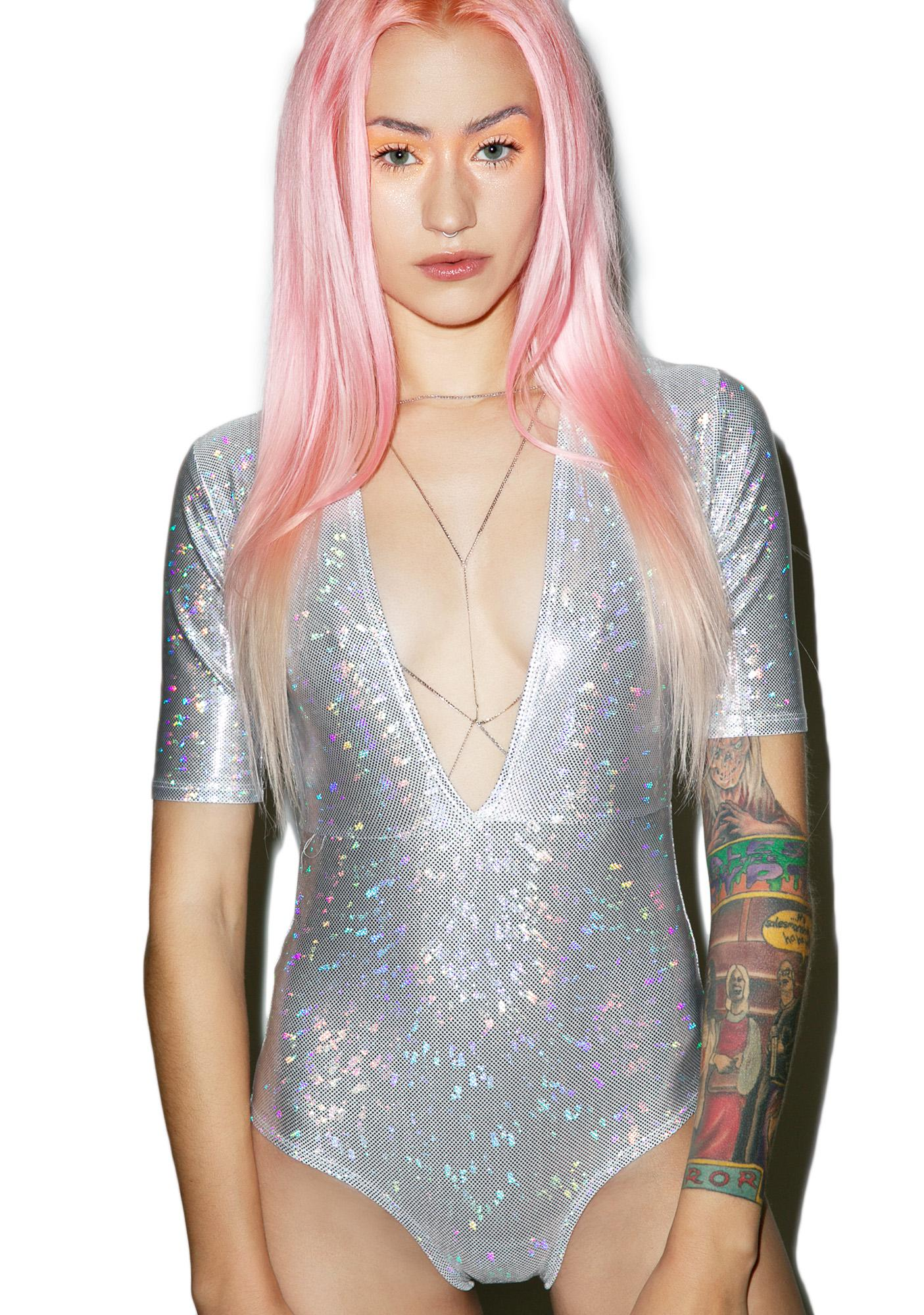 Little Black Diamond Hologram Jet Set Bodysuit