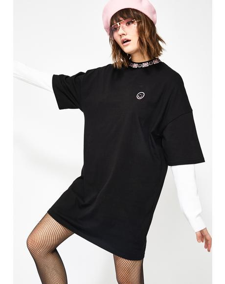 Happy Sad Oversize T-Shirt Dress