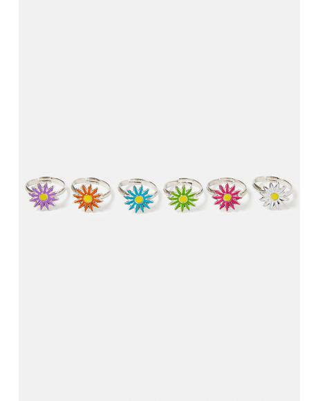 Slowly Blooming Flower Ring Set