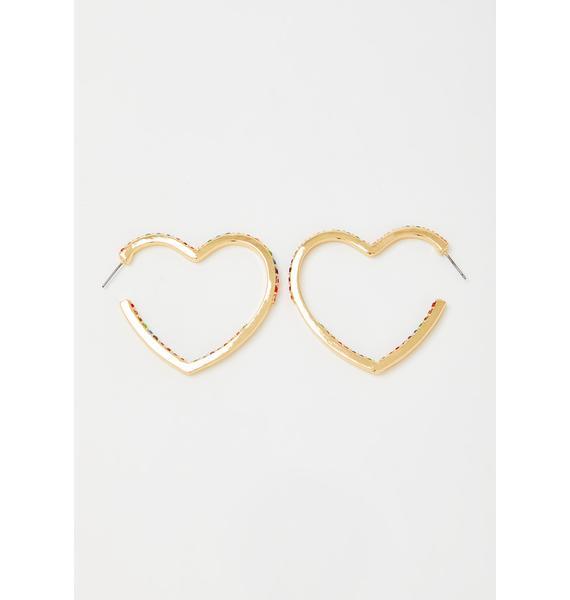 Heart Of Gold Rhinestone Hoops
