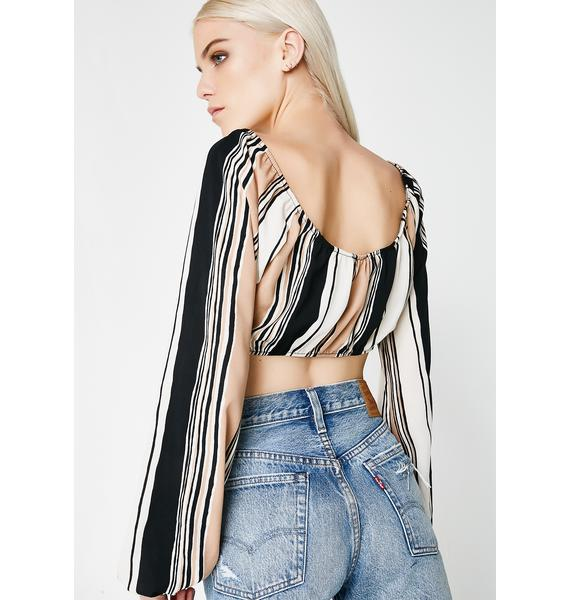 Planning My Takeover Striped Crop Top