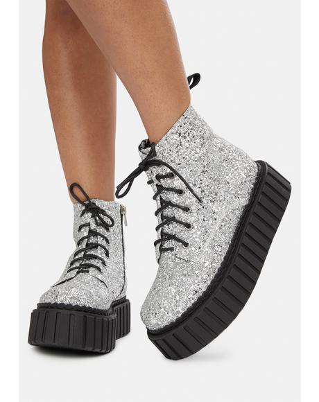 Glitter Platform Boots