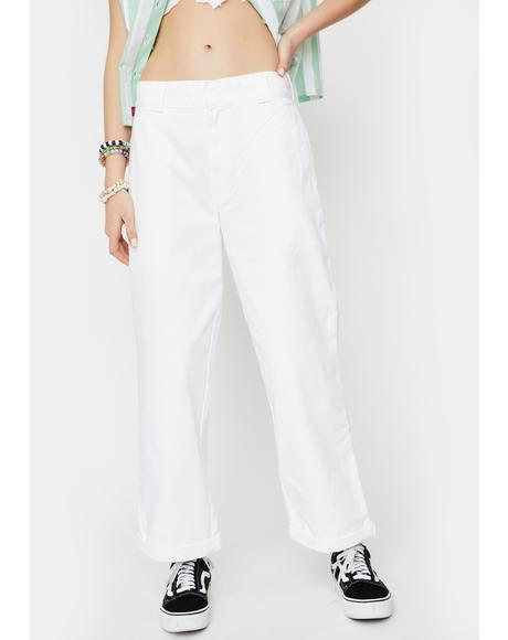 White Rolled Hem Crop Work Pants