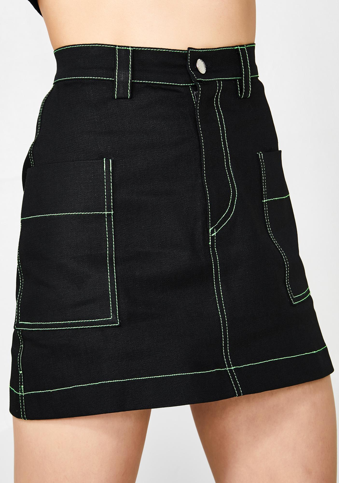 Minga Neon Stitch Utility Skirt