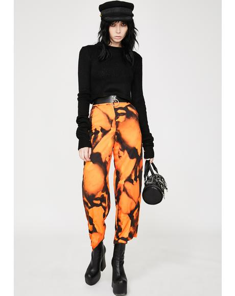 Front Slit Tie Dye Crop Trousers