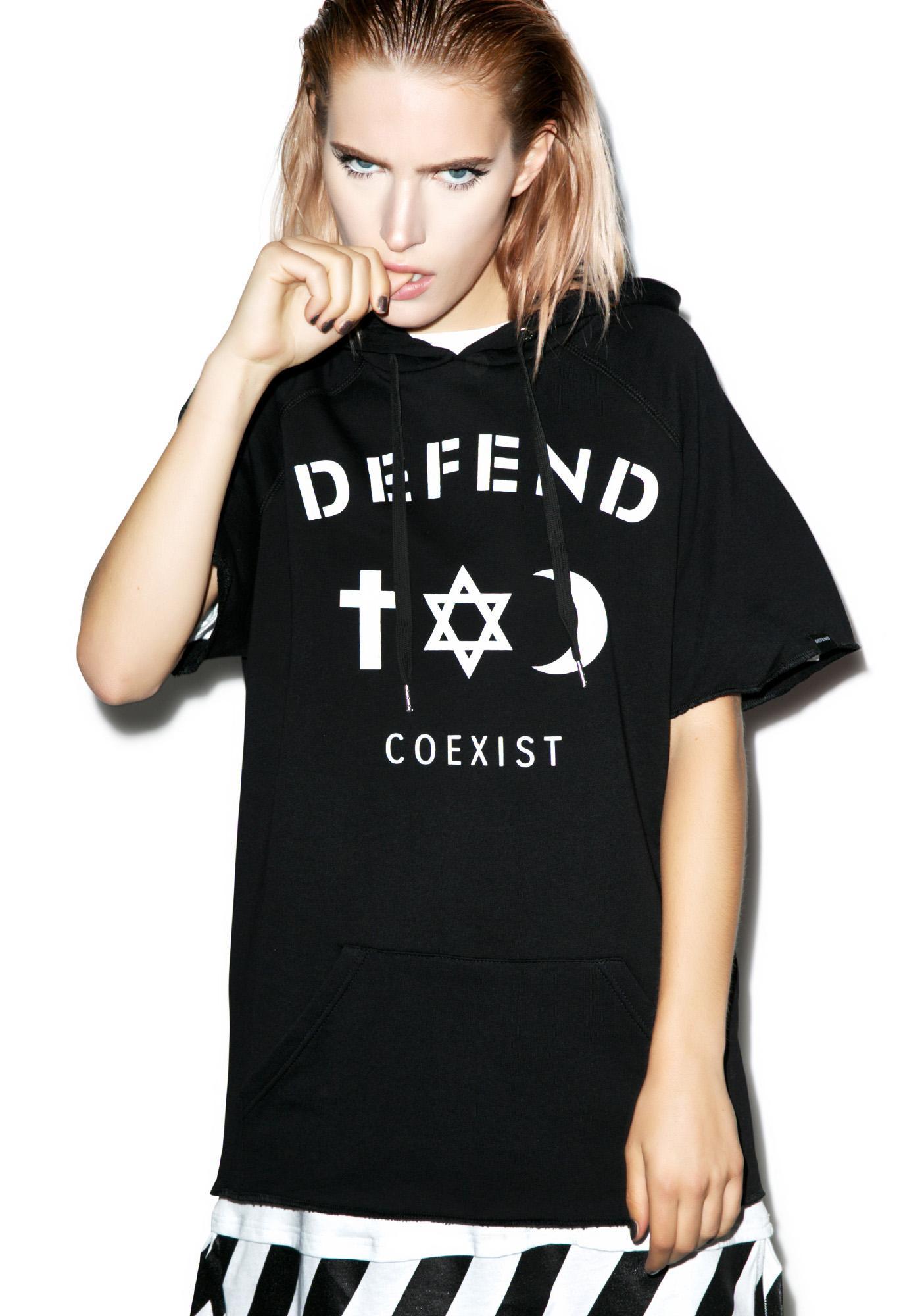 Defend Paris Coexist Cut-Off Hoodie