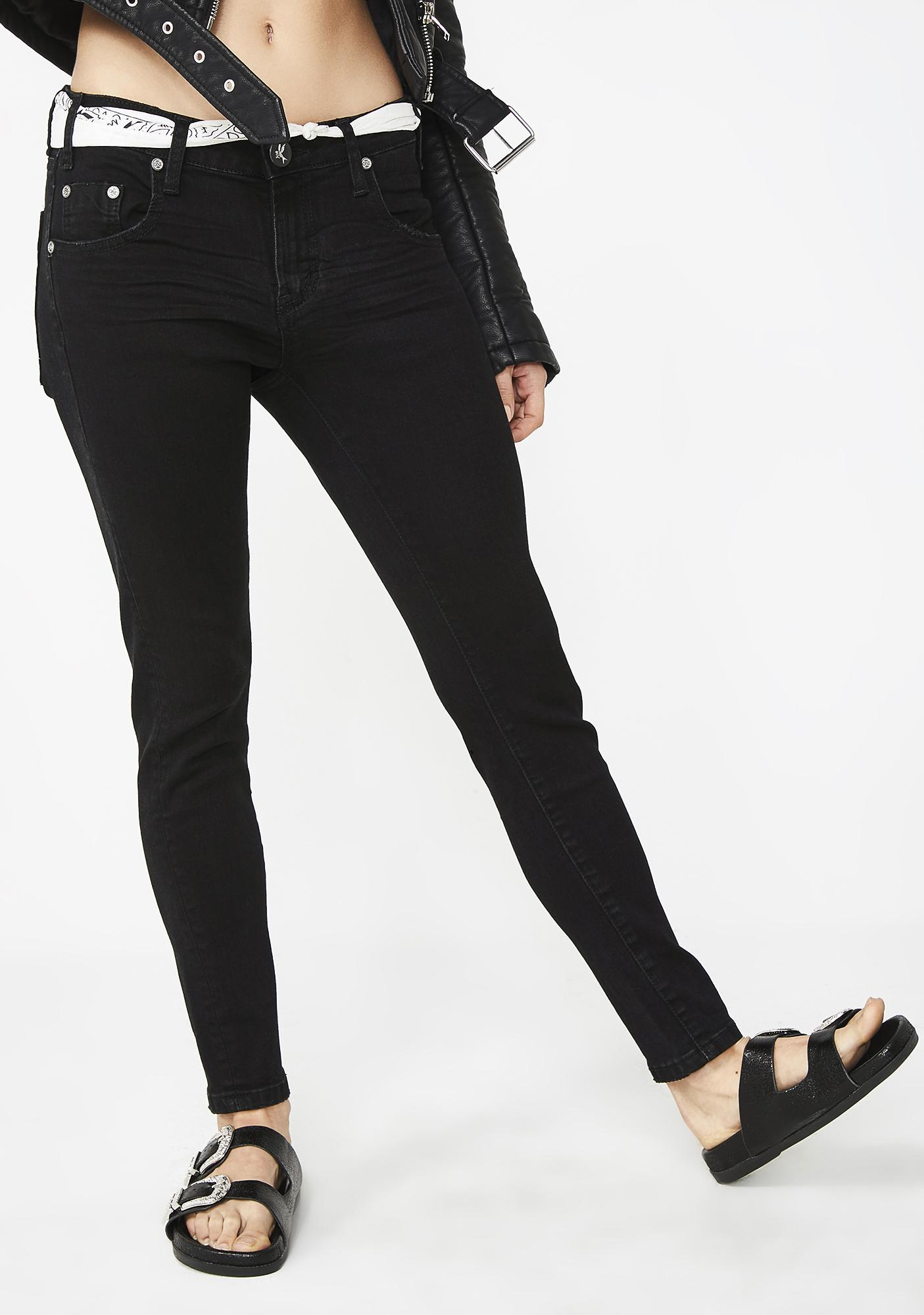 One Teaspoon Black Punk Freebirds II Low Waist Skinny Jeans