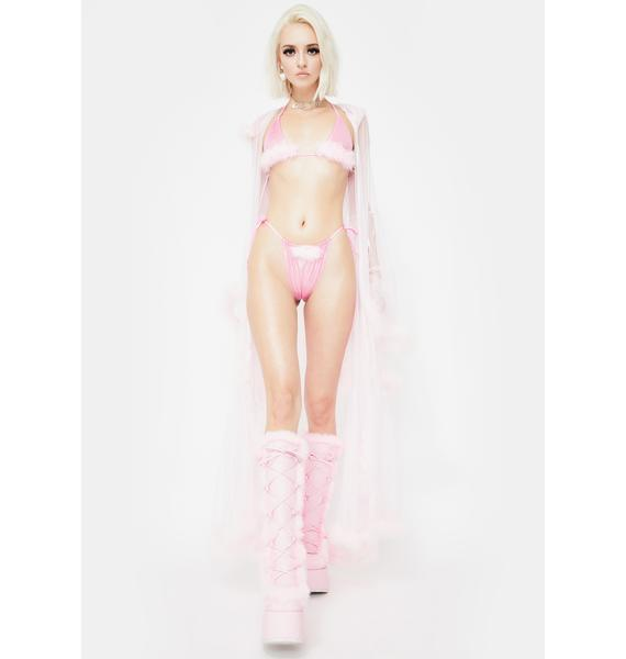 Cats Got The Cream Fuzzy Pink Lingerie Set