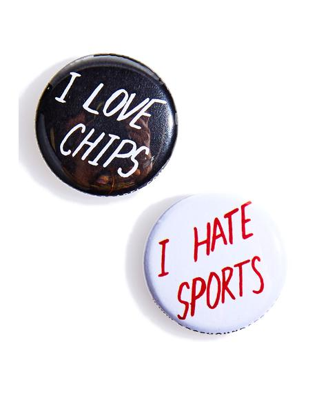 Chips 'N Sports Pin Set