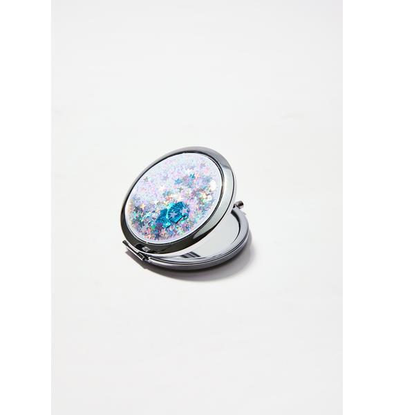 Skinnydip Shell Liquid Glitter Compact Mirror