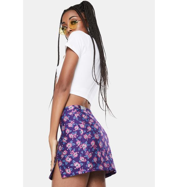 BADEE Purple Flower Jacquard Mini Skirt