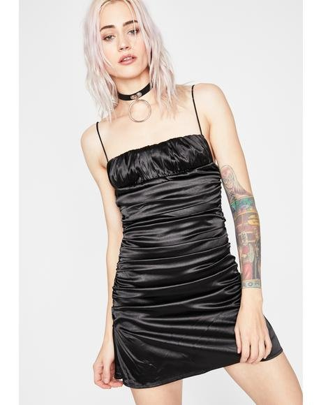Midnight Lover's Embrace Satin Dress