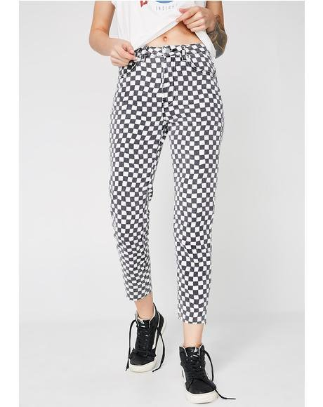 Tina Checkered Mom Jeans