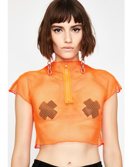 Juiced Bad Romance Fishnet Crop Top