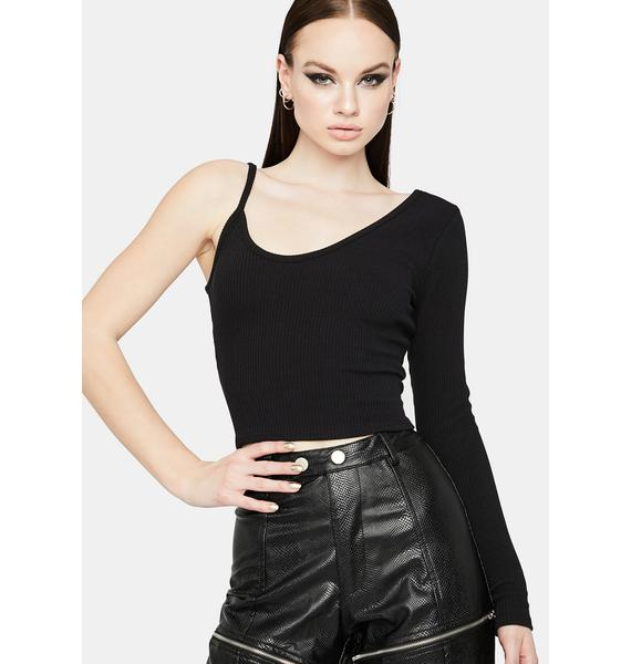 Can't Fake It One-Sleeve Crop Top