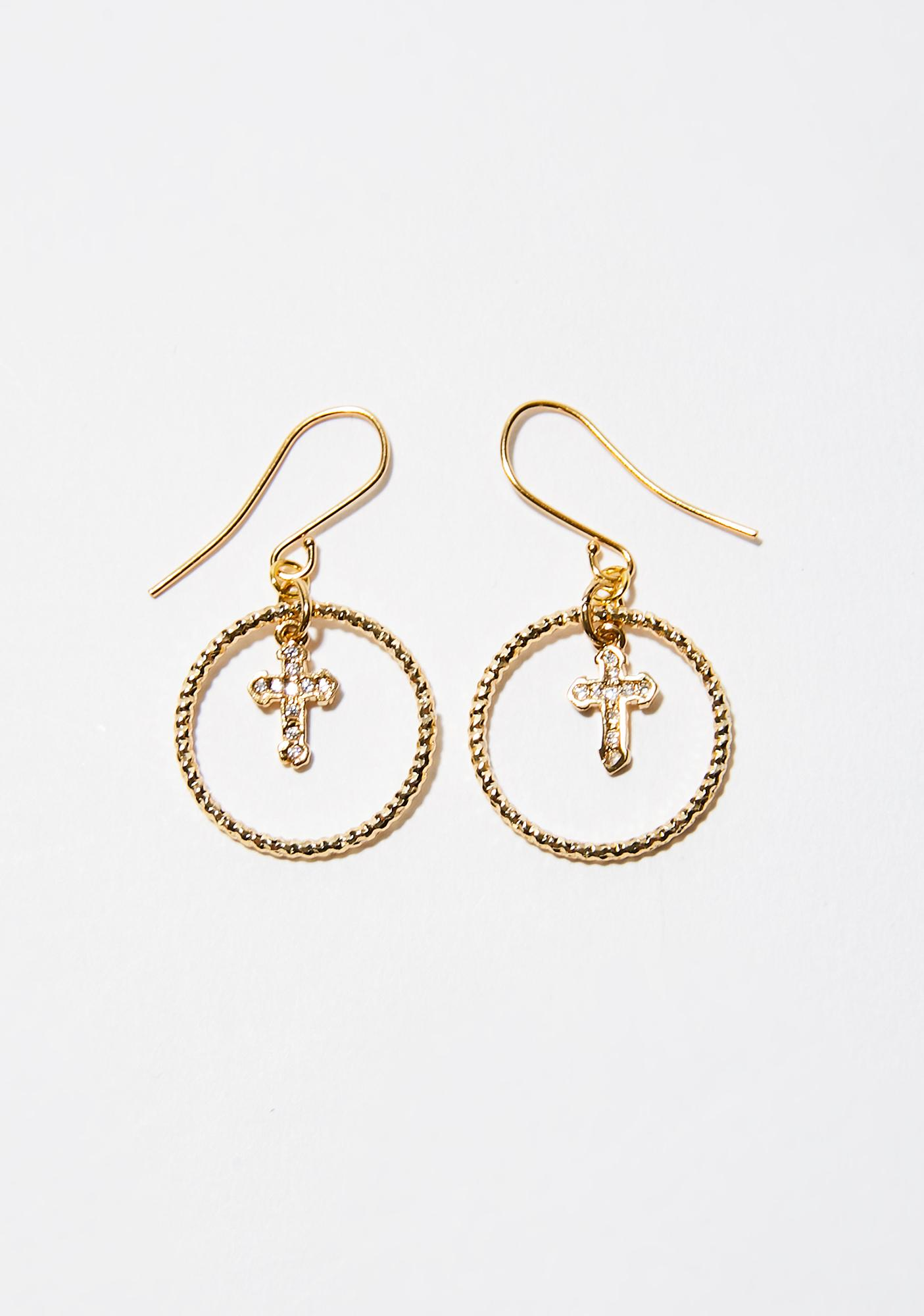 Vanessa Mooney The Dina Cross Hoop Earrings