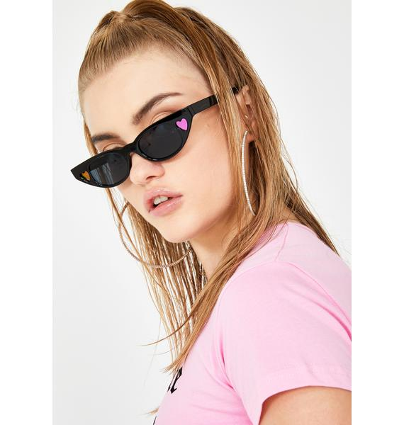 Midnight Love Tease Heart Sunglasses