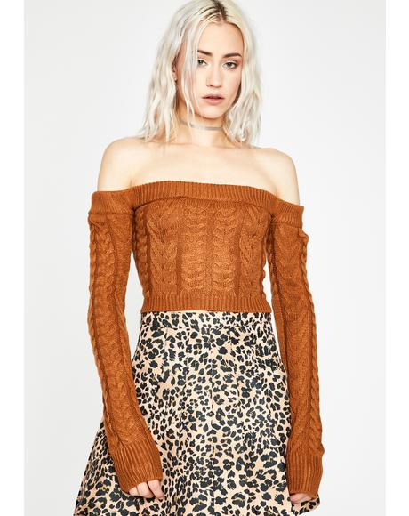 Sienna Takin' Cues Cable Knit Sweater