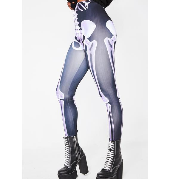 Dolls Kill Babe To The Bone Skeleton Leggings