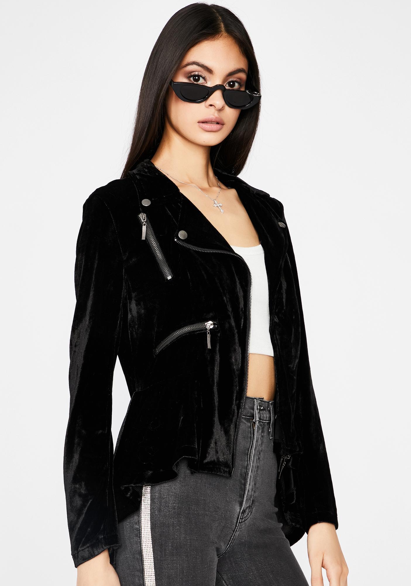 Highs N' Lows Velvet Moto Jacket
