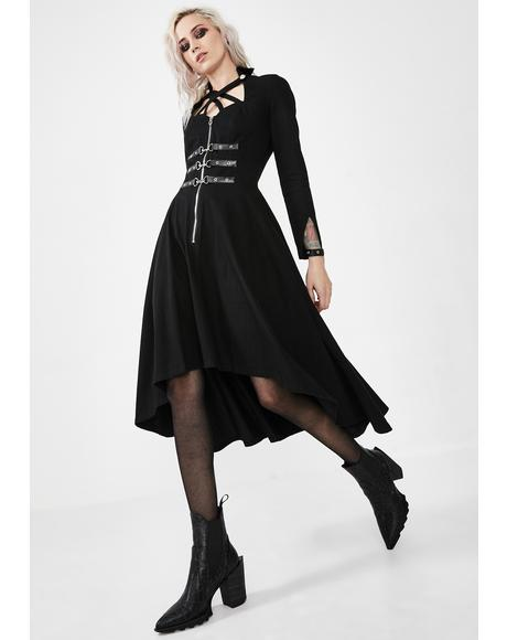 Punk Buckle Criss Cross Dress