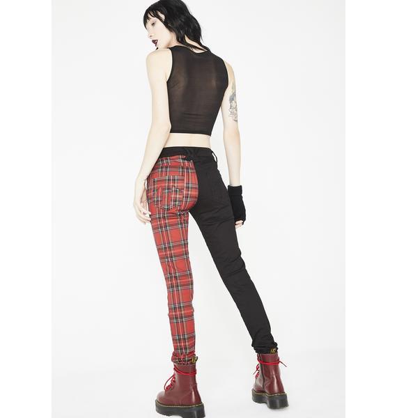 Tripp NYC Split Personality Plaid Jeans