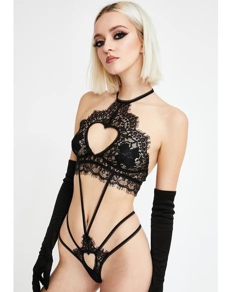 Heart Cut-Out Strappy Lace Teddy